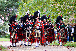 Scottish bagpipers march on the grounds of Cliveden towards the fortified summer house of Chief of Justice Benjamin Chew. (Bas Slabbers/for NewsWorks)