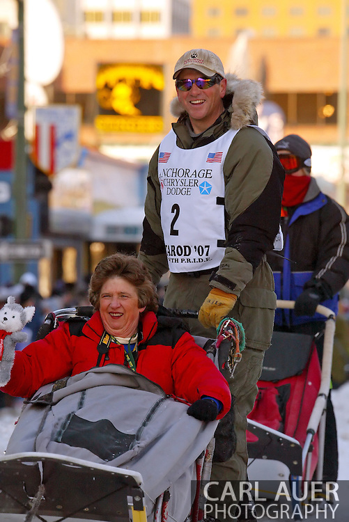 3/3/2007:  Anchorage Alaska -  Veteran Perry Solmonson of Plain, WA during the Ceremonial Start of the 35th Iditarod Sled Dog Race