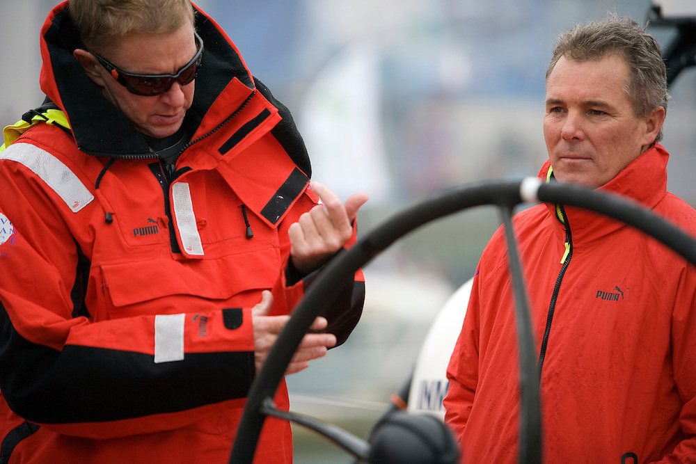 14FEB09. Leg 5 start of the Volvo Ocean Race 2008-2009 from Qingdao to Rio de Janeiro. This Leg is the longest in race history, with 12,300 miles of non-stop offshore ocean racing. Ken Read and Erle Williams