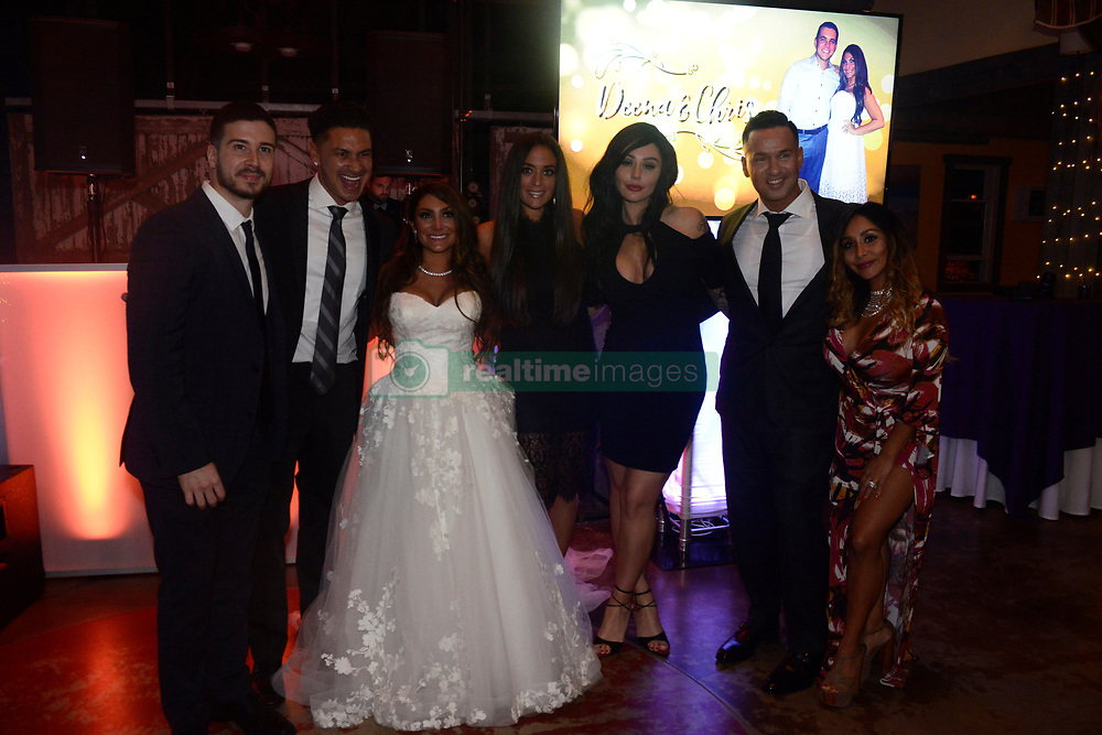 """EXCLUSIVE: 'Jersey Shore' alum, Deena Cortese reunited with her Jersey Shore castmates on Saturday as they showed up to celebrate with her and Chris Buckner. The Shore-studded wedding in Cortese's hometown of New Egypt, N.J. included guests Nicole """"Snooki"""" Polizzi, Jenni """"JWoww"""" Farley, Vinny Guadagnino, Paul """"DJ Pauly D"""" DelVecchio, Sammi """"Sweetheart"""" Giancola and Mike """"The Situation"""" Sorrentino. 28 Oct 2017 Pictured: Deena Cortese, Chris Buckner, Nicole """"Snooki"""" Polizzi, Jenni """"JWoww"""" Farley, Vinny Guadagnino, Paul """"DJ Pauly D"""" DelVecchio, Sammi """"Sweetheart"""" Giancola and Mike """"The Situation"""" Sorrentino. Photo credit: Aaron Showalter / MEGA TheMegaAgency.com +1 888 505 6342"""