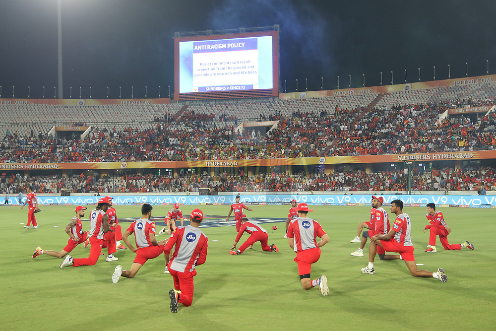 Kings Xi Punjab team warming up during match twenty five of the Vivo Indian Premier League 2018 (IPL 2018) between the Sunrisers Hyderabad and the Kings XI Punjab  held at the Rajiv Gandhi International Cricket Stadium in Hyderabad on the 26th April 2018.<br /> <br /> Photo by Saikat Das /SPORTZPICS for BCCI