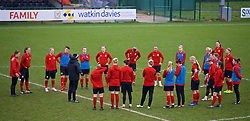 CARDIFF, WALES - Sunday, January 20, 2019: Wales' manager Jayne Ludlow speaks with her squad during a training session at Dragon Park ahead of the International Friendly game against Italy. (Pic by David Rawcliffe/Propaganda)
