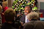 Retired Neurosurgeon and Republican presidential candidate Dr. Ben Carson speaks to the media during a visit to the MUSC Children's Hospital December 22, 2015 in Charleston, South Carolina. Carson stopped by to listen to Christmas carols and greet the young patients.