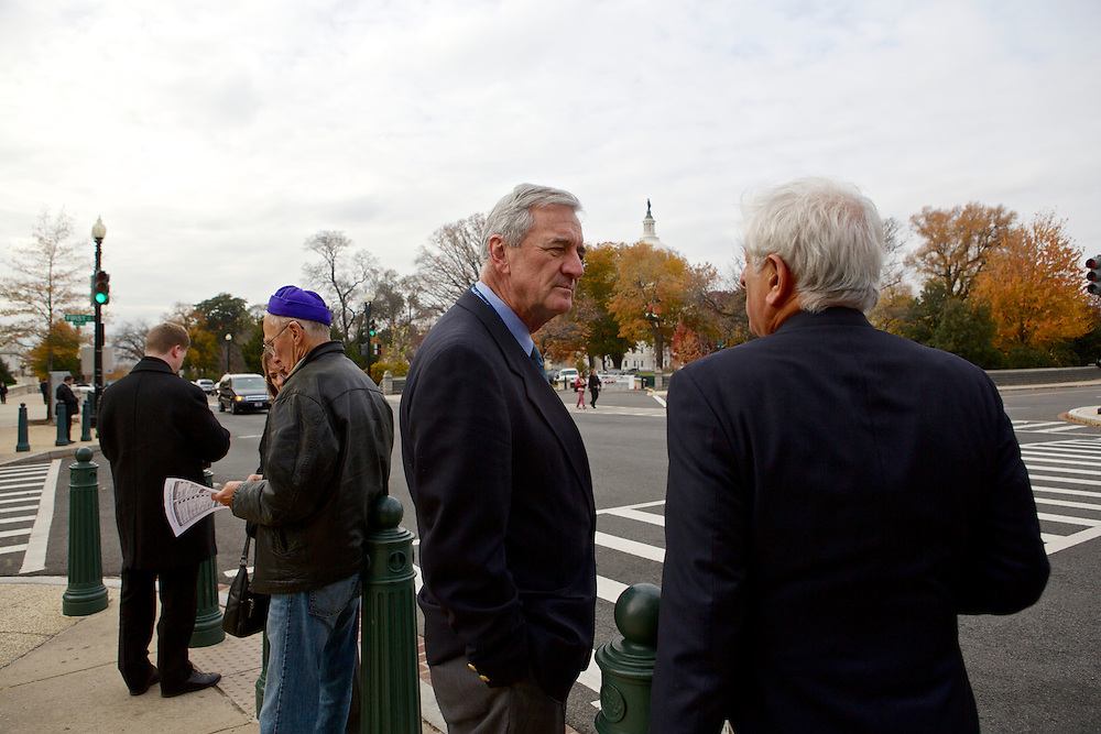 Rep.-elect Rick Nolan, D-Minn., second from right, talks to his friend and former Congressman Toby Moffett on Nov. 15, 2012 in Washington, D.C. Nolan arrived in Washington, D.C. this week to register for orientation. He served three terms in Congress from 1975 until 1980 in Minnesota's 6th disrict.