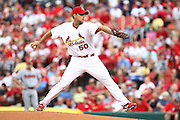 29 June 2010:St. Louis Cardinals starting pitcher Adam Wainwright (50) prepares to hurl a pitch towards home plate during Tuesday's 8-0 shutout against the Arizona Diamondbacks at Busch Stadium in St. Louis, Missouri. .