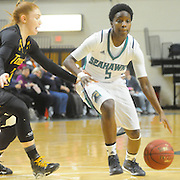 UNCW's Shatia Cole drives around Towson's Ciara Webb Sunday January 25, 2015 at Trask Coliseum. (Jason A. Frizzelle)
