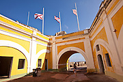 Main courtyard inside Fort San Felipe del Morro Old San Juan, Puerto Rico.