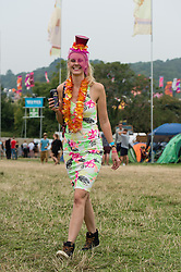© Licensed to London News Pictures. 05/09/2014. Isle of Wight, UK. Festival goers wearing fancy dress costumers at Bestival 2014 Day 2 Friday.  This weekend's headliners include Chic featuring Nile Rodgers, Foals and Outcast Photo credit : Richard Isaac/LNP