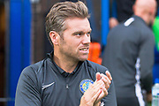 Macclesfield Town manager Daryl McMahon  during the EFL Sky Bet League 2 match between Macclesfield Town and Morecambe at Moss Rose, Macclesfield, United Kingdom on 20 August 2019.