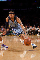 06 November 2009: Guard Allen Iverson of the Memphis Grizzles drives to the basket against the Los Angeles Lakers during the first half of the Lakers 114-98 victory over the Grizzles at the STAPLES Center in Los Angeles, CA.