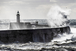 © Licensed to London News Pictures. 21/09/2018. Newhaven, UK. Waves crash over the harbour wall at Newhaven as storm Bronagh hits the United Kingdom. Photo credit: Peter Macdiarmid/LNP