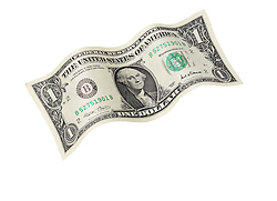United States one dollar bill floating on air with a white background