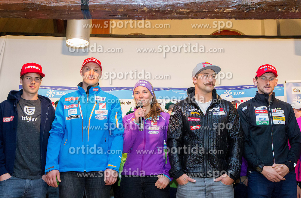 Snowboarder Zan Kosir, alpine skier Andrej Sporn, alpine skier Tina Maze, ski cross  skier Filip Flisar and biathlon athlete Jakov Fak during Media day of Ski Association of Slovenia before new winter season 2013/14 on October 10, 2013 in Hisa Kulinarike Jezersek, Zg. Brnik, Slovenia. (Photo by Vid Ponikvar / Sportida)