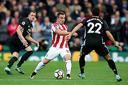 Xherdan Shaqiri of Stoke City takes on Henrikh Mkhitaryan of Manchester United - Mandatory by-line: Matt McNulty/JMP - 09/09/2017 - FOOTBALL - Bet365 Stadium - Stoke-on-Trent, England - Stoke City v Manchester United - Premier League