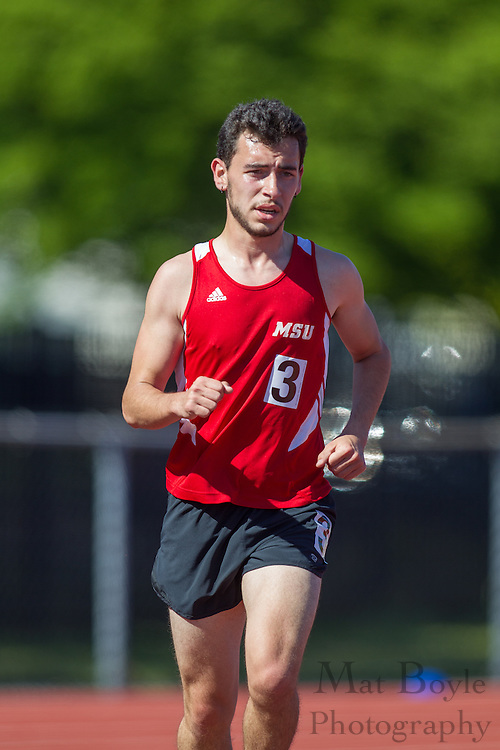 Montclair State University's Alejandro Fortoul competes in the men's 10000 meter at the NJAC Track and Field Championships at Richard Wacker Stadium on the campus of  Rowan University  in Glassboro, NJ on Saturday May 4, 2013. (photo / Mat Boyle)