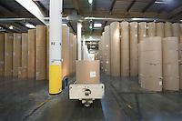 Huge rolls of paper in newspaper factory