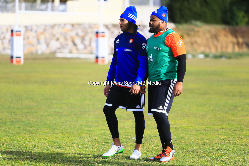 Teddy Thomas / Mathieu Bastareaud - 27.01.2015 - Entrainement XV de France - Canet en Rousillon -<br />