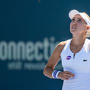 August 22, 2016, New Haven, Connecticut: <br /> Elena Vesnina of Russia reacts after winning a match on Day 4 of the 2016 Connecticut Open at the Yale University Tennis Center on Monday August  22, 2016 in New Haven, Connecticut. <br /> (Photo by Billie Weiss/Connecticut Open)