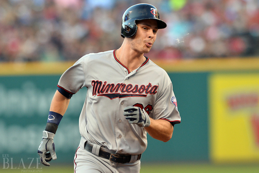 Aug 1, 2016; Cleveland, OH, USA; Minnesota Twins right fielder Max Kepler (26) rounds the bases after hitting his second home run of the game during the third inning against the Cleveland Indians at Progressive Field. Mandatory Credit: Ken Blaze-USA TODAY Sports
