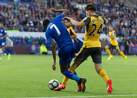 Football - 2016/2017 Premier League - Leicester Ciity V Arsenal. <br /> <br /> Hector Bellerín of Arsenal times his tackle in the Leicester penalty area as Leicester are denied a penalty at The King Power Stadium.<br /> <br /> COLORSPORT/DANIEL BEARHAM