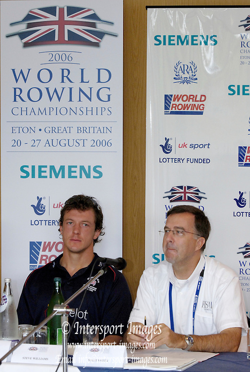 Eton, GREAT BRITAIN,  Eton, GREAT BRITAIN, Top table. left to right, Steve WILLIAMS, Matt SMITH,  2006 World Rowing Championships, 17/08/2006.  2006 World Rowing Championships, 17/08/2006.  Photo  Peter Spurrier, © Intersport Images,  Tel +44 [0] 7973 819 551,  email images@intersport-images.com , Rowing Courses, Dorney Lake, Eton. ENGLAND