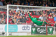 Northampton Town goalkeeper Matt Ingram is unable to stop the strike from Bradford City defender Tony McMahon going in to the goal during the EFL Sky Bet League 1 match between Northampton Town and Bradford City at Sixfields Stadium, Northampton, England on 23 September 2017. Photo by Aaron  Lupton.