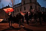 Dresden | 19.11.2011..Neonazis aus ganz Deutschland und aus anderen Ländern Europas planten in Dresden wie in den vergangenen Jahren eine Demonstration (Trauermarsch), um an die Bombardierung Dresdens am 13.02.1945 zu erinnern. Der Tag entwickelte sich für die Neonazis zum Fiasko, über 20000 Demonstranten verhinderten mit Mahnwachen, Demonstrationen und Blockaden die Demo-Versuche der Neonazis..Hier: Neonazis haben sich im Dresdner Ortsteil Plauen versammelt und schwenken Fahnen...©peter-juelich.com..[No Model Release | No Property Release]