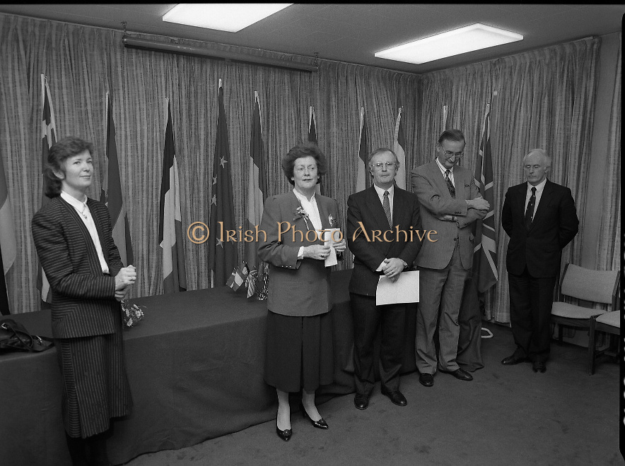 "Irish Laureate Women Of Europe Award. (T10)..1989..17.11.1989..11.17.1989..17th November 1989..Speculation regarding the Irish Laureate for the 1989 Women of Europe Award ended today when the Minister for Education, Ms Mary O'Rourke TD, announced that the Irish Laureate for this year is Grainne Kenny. Founder member of EURAD (Europe Against Drugs), and well known for her work as ""The drugs lady"" in Ireland, Grainne Kenny has been involved in the fight against drugs since 1980. She helped form CAD, Community Action and Drugs and later EURAD. EURAD is has the active co-operation of both the European Commission and Parliament...Image shows the Minister for Education, Mary O'Rourke (left) preparing for the presentation with members of the organising committee. Ms Mary Robinson is pictured to her right."