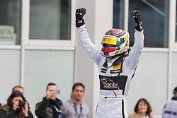 17.10.2015, Hockenheimring, Hockenheim, GER, DTM, Hockenheim, im Bild Pascal Wehrlein (DTM Mercedes AMG C Coupe) bejubelt seinen Sieg in der DTM Saison mit erhobenen Faeusten // during the DTM Championship Race at the Hockenheimring in Hockenheim, Germany on 2015/10/17. EXPA Pictures &copy; 2015, PhotoCredit: EXPA/ Eibner-Pressefoto/ Neis<br /> <br /> *****ATTENTION - OUT of GER*****