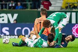 BREMEN, Dec. 8, 2018  Bremen's Josh Sargent (up R) celebrates his scoring with Martin Harnik (down L) during a German Bundesliga match between SV Werder Bremen and Fortuna Duesseldorf, in Bremen, Germany, on Dec. 8, 2018. Duesseldorf lost 1-3. (Credit Image: © Kevin Voigt/Xinhua via ZUMA Wire)