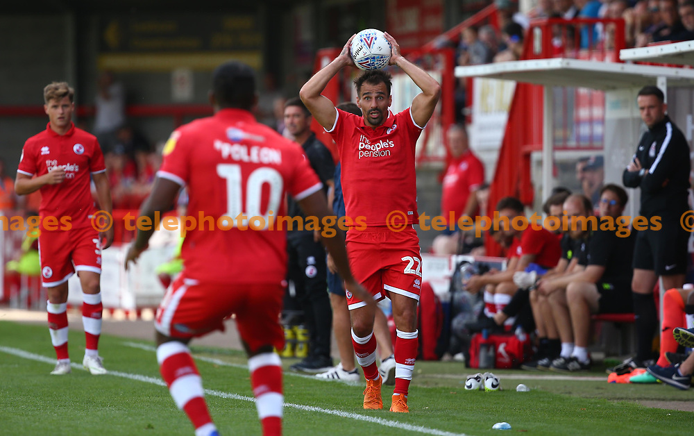 Crawley's Filipe Morais  during the pre season friendly between Crawley Town and KSV Roeselare at The Broadfield Stadium, Crawley , UK. 28 July 2018.