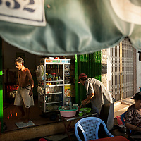 Early morning at a small cafe in Ho Chi Minh City, Vietnam.