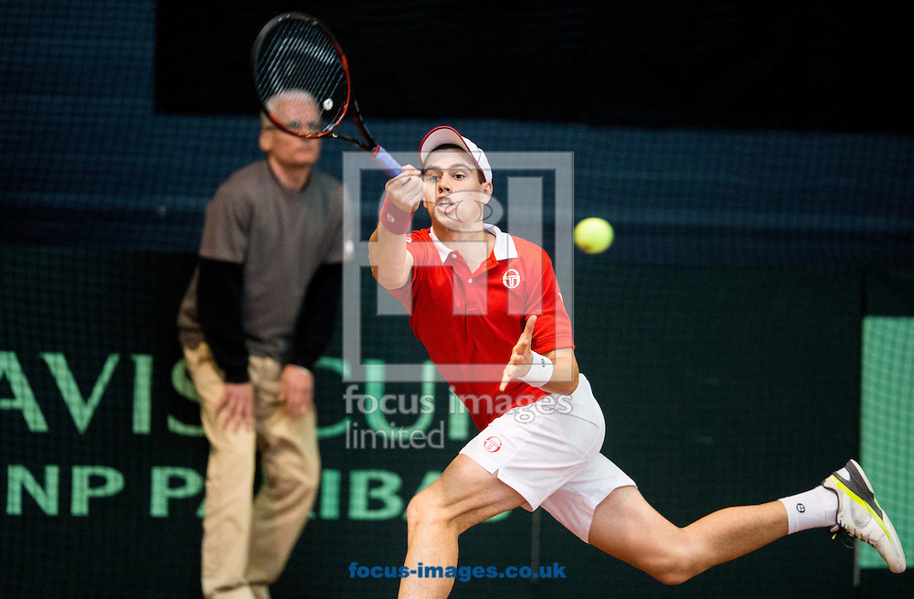 Lucas Catarina of Monaco during the first round Davis Cup match between Solvenia and Monaco  at Tennis Arena Tabor, Maribor, Slovenia.<br /> Picture by EXPA Pictures/Focus Images Ltd 07814482222<br /> 05/02/2017<br /> *** UK &amp; IRELAND ONLY ***<br /> <br /> EXPA-SLO-170205-0068.jpg