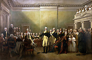 General George Washington Resigning his Commission': On 23 December 1793 he resigned his commission to Congress meeting in Annapolis, an act which led to a civilian rule and a republic rather than a dictatorship. Painting by John Trumbull, c1824.