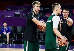 Luka Doncic of Slovenia, Klemen Prepelic of Slovenia, Matic Rebec of Slovenia at practice session of Team Slovenia 1 day before final match against Serbia at Day 17 of FIBA EuroBasket 2017 at Sinan Erdem Dome in Istanbul, Turkey on September 16, 2017. Photo by Vid Ponikvar / Sportida