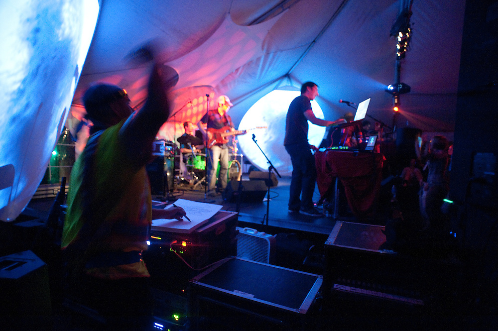 Live drawing on the sides of Fort Knox Five, main stage Saturday night.