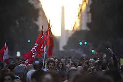 May 10, 2017 - Buenos Aires, Buenos Aires, Argentina - Hundreds of thousands gather at May Square to protest after a Supreme Court ruling allowed a human rights abuser to be freed opened the door for hundreds to demand the same benefit.The ruling reduced the sentence of Luis Mui–a, who was condemned in 2013 to 13 years for crimes commited during the country's last military dictatorship.The Supreme Court ruling was based on an interpretation of a repealed law that had not previously been applied to human rights crimes. The so-called 2x1 law was in effect in 1994-2001, at a time when dictatorship-era criminals were free. (Credit Image: © Patricio Murphy via ZUMA Wire)