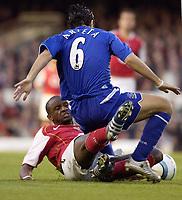 Photo: Daniel Hambury, Digitalsport<br /> Arsenal v Everton.<br /> FA Barclays Premiership.<br /> 11/05/2005.<br /> Arsenal's Patrick Vieira tackles Everton's Mikel Arteta