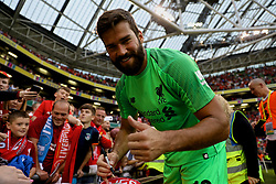DUBLIN, REPUBLIC OF IRELAND - Saturday, August 4, 2018: Liverpool's new signing goalkeeper Alisson Becker signs autographs for supporters after the preseason friendly match between SSC Napoli and Liverpool FC at Landsdowne Road. (Pic by David Rawcliffe/Propaganda)