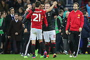 Wayne Rooney Forward of Manchester United congratulates Ander Herrera Midfielder of Manchester United during the EFL Cup Final between Manchester United and Southampton at Wembley Stadium, London, England on 26 February 2017. Photo by Phil Duncan.