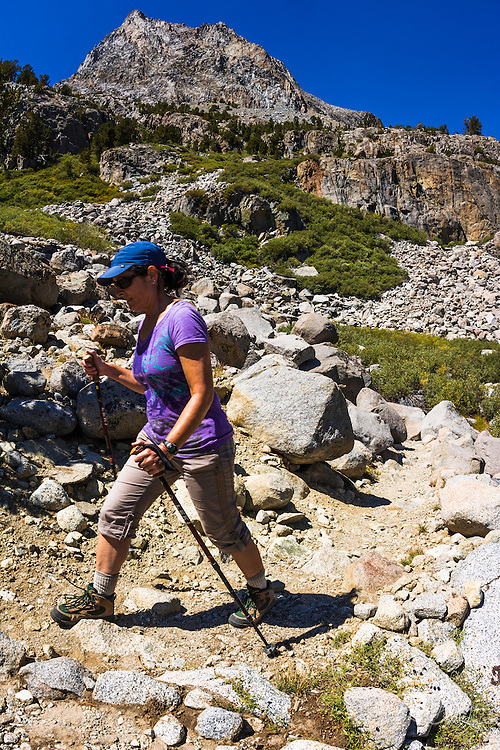 Hiker in the Big Pine Lakes basin, John Muir Wilderness, California USA
