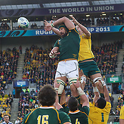Victor Matfield, South Africa, wins a line out from Rocky Elsom, Australia, during the South Africa V Australia Quarter Final match at the IRB Rugby World Cup tournament. Wellington Regional Stadium, Wellington, New Zealand, 9th October 2011. Photo Tim Clayton...