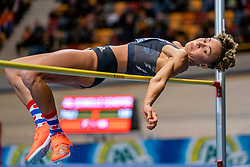 Jeanelle Scheper in action on high jump during the Dutch Indoor Athletics Championship on February 23, 2020 in Omnisport De Voorwaarts, Apeldoorn