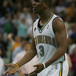 Chris Paul #3 argues a call during the fourth quarter of the Hornets game against the Knicks on April 4, 2008 at the New Orleans Arena in New Orleans, Louisiana. New Orleans Hornets defeated the New York Knicks 118-110 and with the win clinched a NBA Playoff birth.