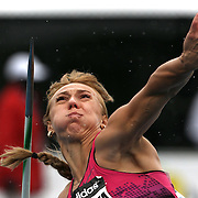 Mariya Abakumova, Russia, in action during the Women's Javelin event at the Diamond League Adidas Grand Prix at Icahn Stadium, Randall's Island, Manhattan, New York, USA. 25th May 2013. Photo Tim Clayton