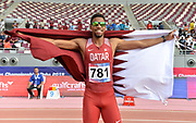 Abderrahman Samba (QAT) poses with flag after winning the 400m hurdles in 47.51 during the Asian Athletics Championships in Doha, Qatar, Saturday, April,21, 2019. (Jiro Mochizuki/Image of Sport)