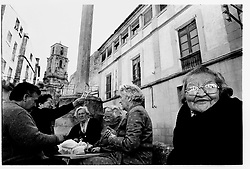 Calaceite, Teruel, Spain.<br /> Some old women playing cards in the street. &copy;Carmen Secanella