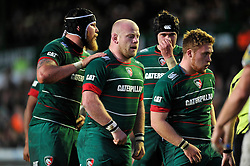 Dan Cole making his first appearance in nine months and the rest of the Leicester Tigers forwards pack down for a scrum - Photo mandatory by-line: Patrick Khachfe/JMP - Mobile: 07966 386802 09/11/2014 - SPORT - RUGBY UNION - Leicester - Welford Road - Leicester Tigers v Sale Sharks - LV= Cup