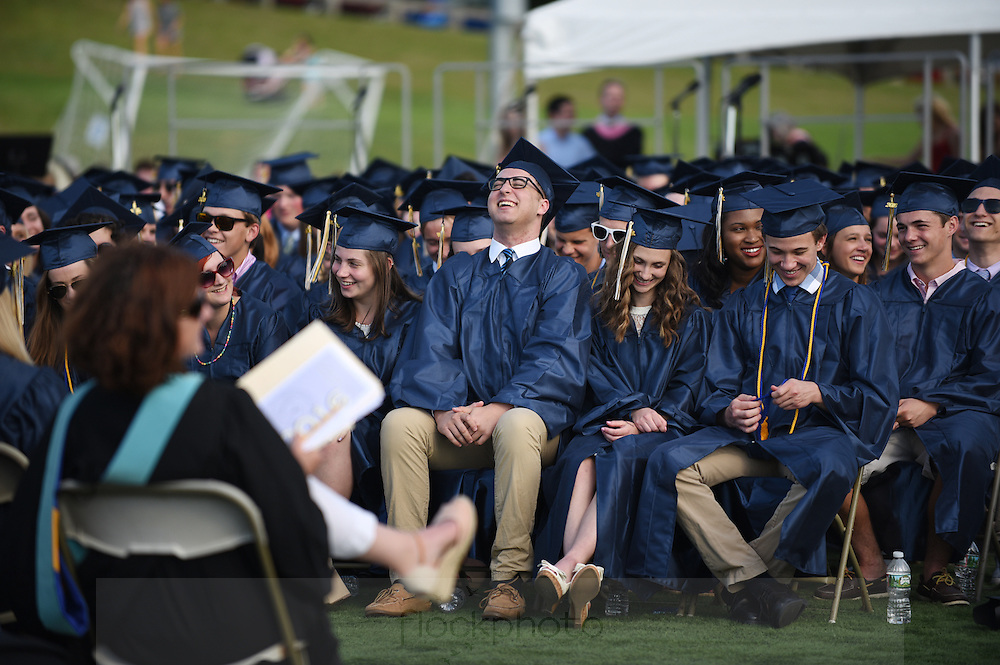 Needham High School seniors listen to a speaker during their graduation ceremony, Monday, June 6, 2016.<br /> Wicked Local staff photo / Kate Flock