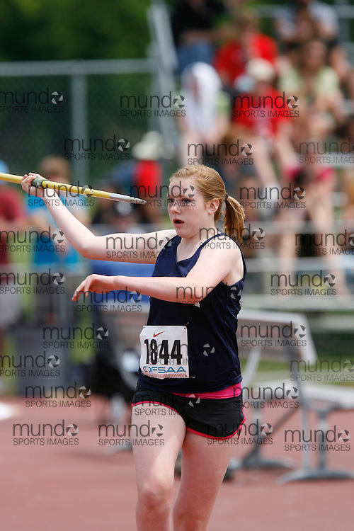 (London, Ontario}---04 June 2010) Shannon Greer of St. Mary's - Brockville competing in the midget girls javelin at the 2010 OFSAA Ontario High School Track and Field Championships. Photograph copyright Dave Chidley / Mundo Sport Images, 2010.